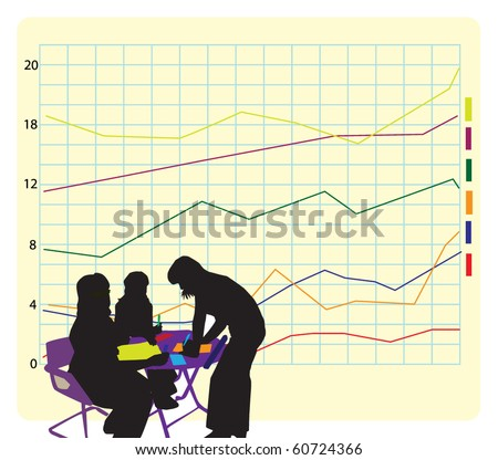 Diagram and woman - stock vector
