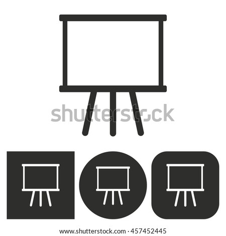 Diagram board - black and white icons. Vector illustration.