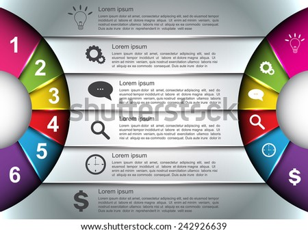 Diagram Circle Design, Glowing Semi-circle Curve With Number -  Business Icon and Information Text Design on Metallic Color Background,  For Business/Finance Infographic. Vector Illustration - stock vector