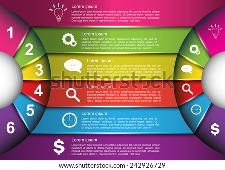 Diagram Circle Design, Glowing Semi-circle Curve With Number -  Business Icon and Information Text Design On Multi-Color Background, For Business/Finance Infographic. Vector Illustration - stock vector