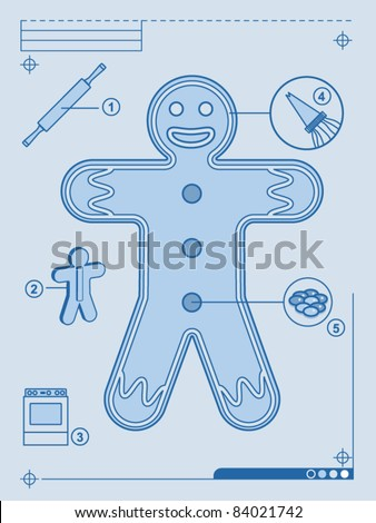 Diagram for the construction of a gingerbread man cookie - stock vector