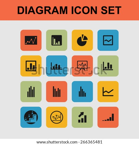 diagram icons - stock vector