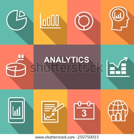Diagram Icons Set and analitics concept. flat style.  - stock vector