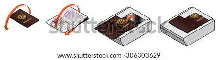 Diagram / instructions to open passport to photo page and position it for scanning in a scanner. - stock vector
