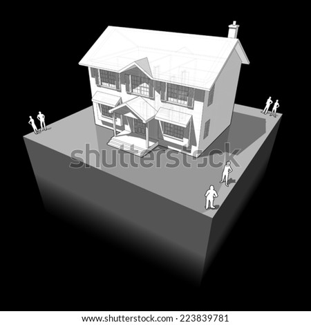 diagram of a classic colonial house - stock vector