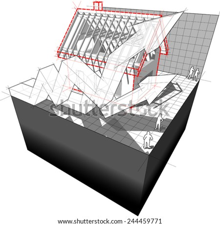diagram of a detached house under construction with two rising business diagram arrows  - stock vector