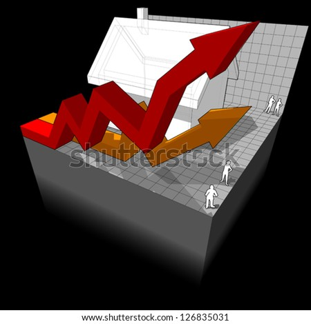 diagram of a detached house with two rising business diagram arrows - stock vector