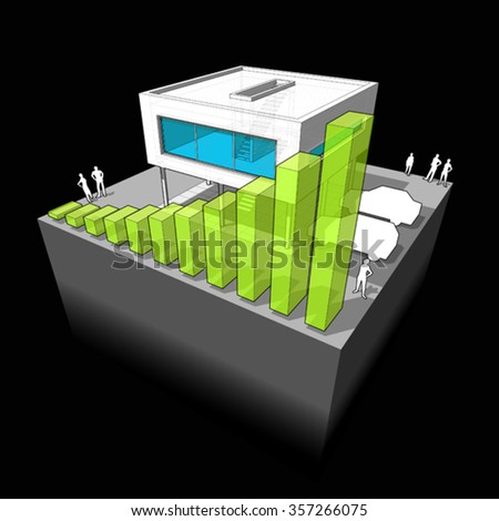 Diagram of a modern house  with rising bar business diagram - stock vector