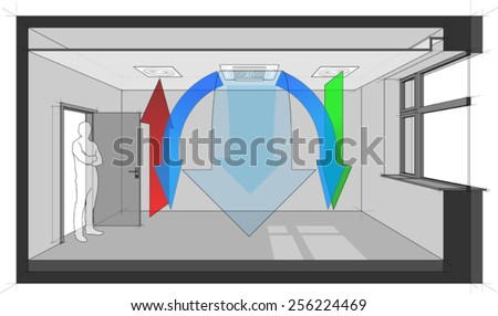 Diagram of a room ventilated and cooled by ceiling built-in air ventilation and air conditioning - stock vector