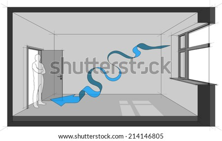Diagram of a room with natural air ventilation - stock vector