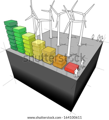 diagram of a wind turbine farm with energy rating diagram  (another building diagram from the collection, all have the same point of view/angle/perspective, easy to combine)  - stock vector
