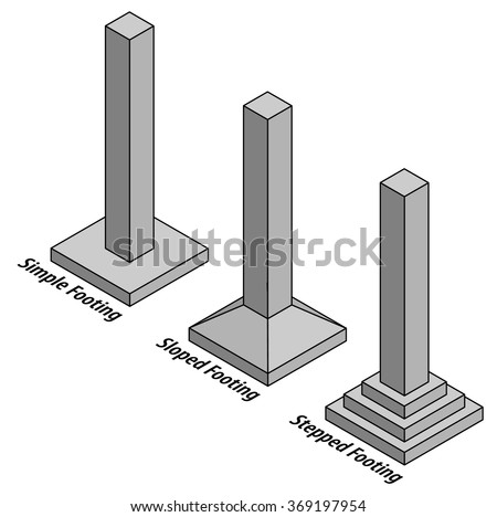 diagram columns on three different footings stock vector. Black Bedroom Furniture Sets. Home Design Ideas