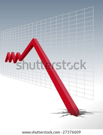 diagram of economic downturn - stock vector