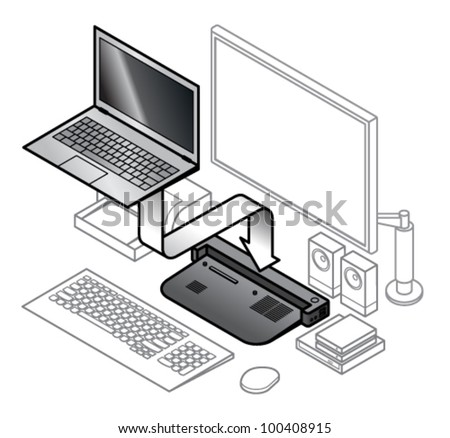 Diagram of laptop attaching onto a dock. With line drawings of peripherals connected to the dock.