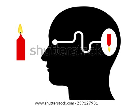 Diagram of the silhouette of a head showing visual perception in a human with the brain receiving an inverted image through the optic nerve of an object viewed by the eye - stock vector