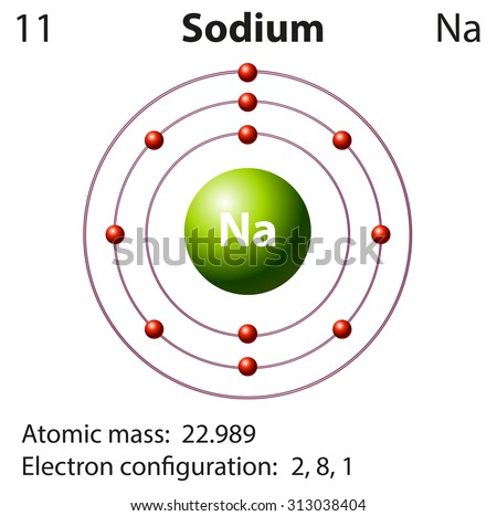 sodium atom diagram diagram for sodium diagram representation element sodium illustration stock