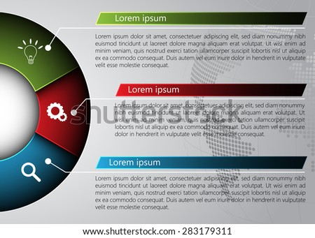Diagram Semi-Circle on Globe Abstract Background, 3 Options,  Business Icon & Information Text Design On Metallic Multi-Color Background, Vector Illustration - stock vector