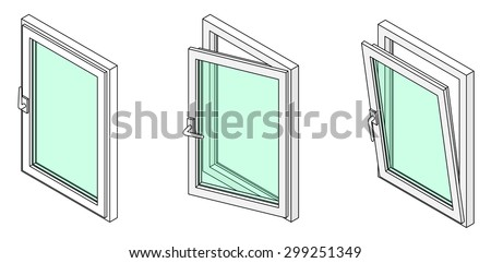 Diagram showing a casement window in three different positions: closed, tilted open for ventilation, and swung fully open. - stock vector