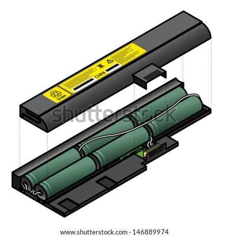 Diagram Showing Inside Components Laptop Battery Stock Vector How Does A Rechargeable Battery Work What Is A Battery Cell What Does A Battery Do In A Circuit
