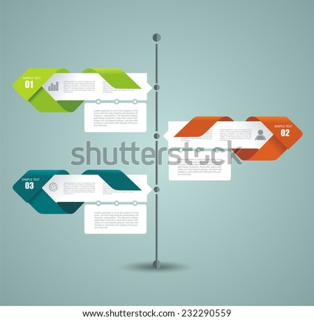 Diagram template of multidirectional pointers on a signpost  - stock vector