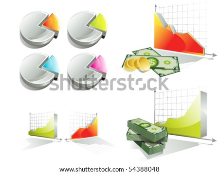 Diagrams and stunt of money - stock vector