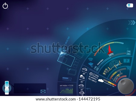dial technology interface tablet - stock vector