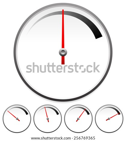 Dial Templates For Gauge Concept Set At 5 Stages - stock vector
