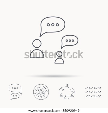 Dialog icon. Chat speech bubbles sign. Discussion messages symbol. Global connect network, ocean wave and chat dialog icons. Teamwork symbol. - stock vector