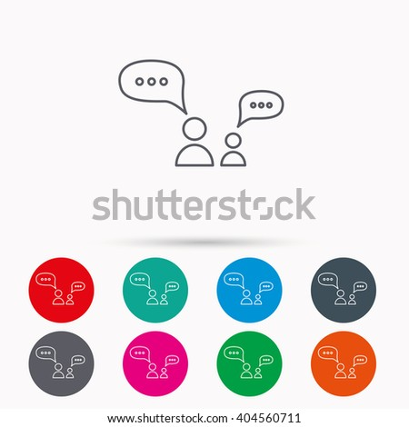 Dialog icon. Chat speech bubbles sign. Discussion messages symbol. Linear icons in circles on white background. - stock vector