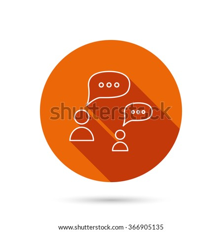 Dialog icon. Chat speech bubbles sign. Discussion messages symbol. Round orange web button with shadow. - stock vector