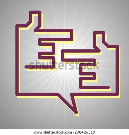 dialog with hands icon - stock vector