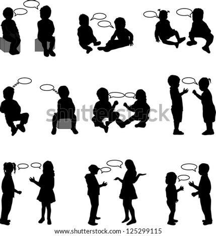dialogue children - stock vector
