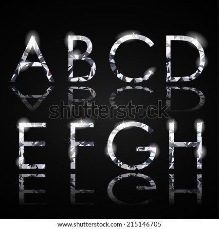 Diamond alphabet letters - eps10 - stock vector