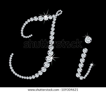 """Diamond alphabetic uppercase and lowercase letters of """"I"""". Vector illustration - stock vector"""