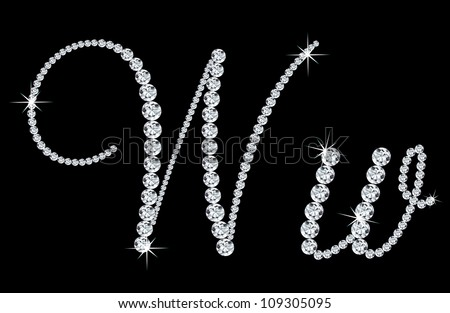 """Diamond alphabetic uppercase and lowercase letters of """"W"""". Vector illustration - stock vector"""