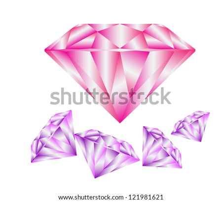 Diamond anatomy pattern in standard cut for modern round brilliant with 58 facets illustrated by blue shown premium design of 27 shapes in 10 EPS format. Pink and purple. - stock vector