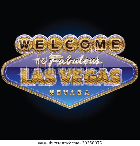 Diamond and gold Las vegas sign on blue background - stock vector