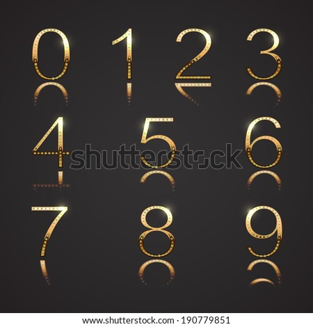 Diamond and Gold Numbers - Set 3 - stock vector