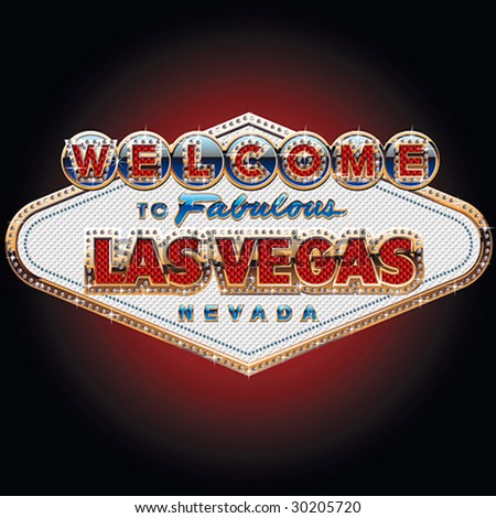 Diamond and gold richest Las vegas sign - stock vector