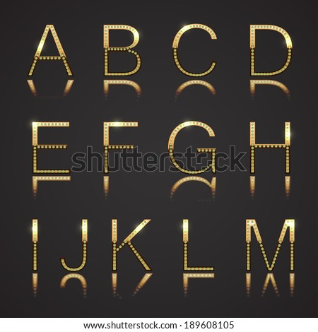 Diamond and Gold Uppercase Letters - Set 1 - stock vector