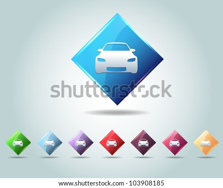 Diamond Car Icon Button Vector Design Multicolored - stock vector