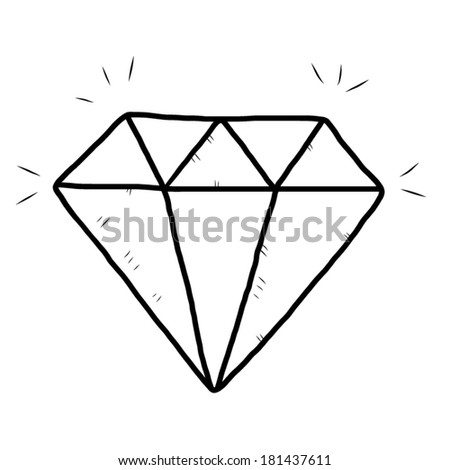 diamond  / cartoon vector and illustration, black and white, hand drawn, sketch style, isolated on white background.