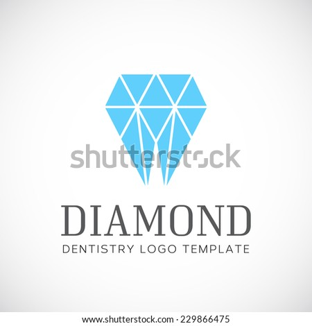 Diamond Dentistry Tooth Abstract Vector Logo Template With Typography - stock vector