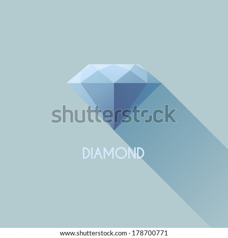 Diamond. Flat vector design with long shadow - stock vector