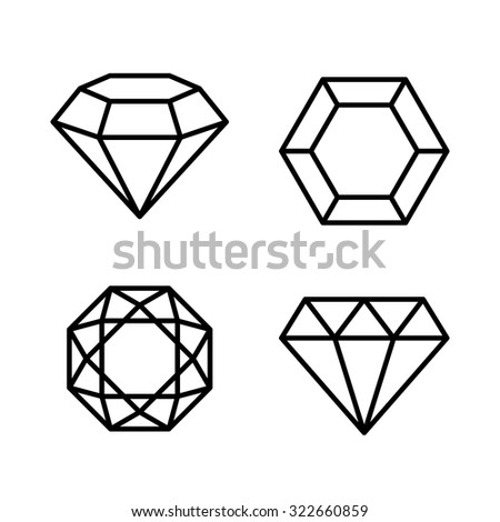 Diamond Gems Icons Set on White Background. Vector - stock vector