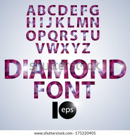 Diamond glamorous font - stock vector