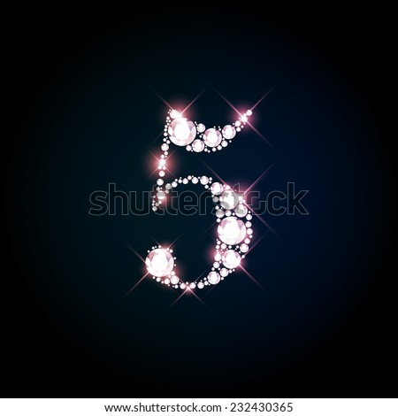 "Diamond glittering number ""5"" five of sparkling brilliants (glitter font concept) - stock vector"