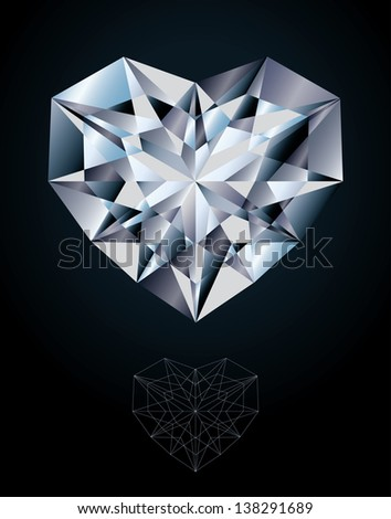 Diamond heart jewel, vector illustration