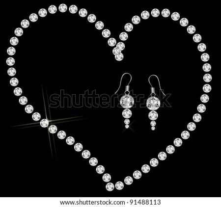 diamond heart necklace - stock vector