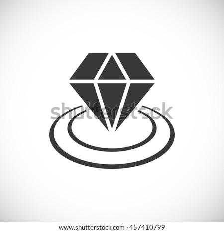 diamond icon in circles - stock vector